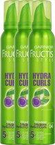 Garnier Fructis Style Hydra Curls Haarmousse Extra Strong - 3 x 200 ml - Voordeelverpakking