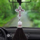 Mooie ornamenten metalen bloem kristal stijl hangende decoratie voor auto en huishouden (zilver)