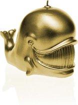 Candellana Geel Goud gelakte figuurkaars, design: Walvis  Hoogte 14 cm (76 uur)