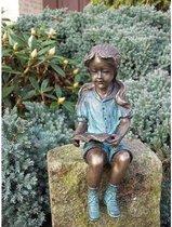 Beeld Brons Meisje Met Boekje   Bronzen Beelden    Bronzen Beeld Van Kinderen   20 X 9 X 7    1 Jaar Garantie