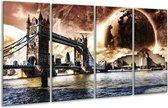 Glasschilderij Londen | Bruin, Wit, Grijs | 160x80cm 4Luik | Foto print op Glas |  F004233