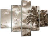 Glas schilderij Zee, Strand | Sepia | 100x70cm 5Luik | Foto print op Glas |  F006563