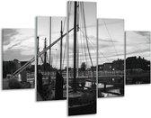Glasschilderij Boot   Grijs, Zwart, Wit   100x70cm 5Luik   Foto print op Glas    F001776