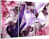 Canvas schilderij Bloem | Paars, Wit, Roze | 120x80cm 3Luik