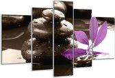 Glasschilderij Spa | Zwart, Paars, Wit | 170x100cm 5Luik | Foto print op Glas |  F004493