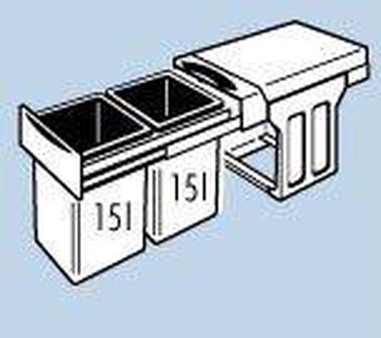 Hailo Tandem Inbouw Prullenbak - 30L - 2 Compartimenten - Grijs