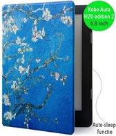 Lunso - sleepcover flip hoes - Kobo Aura H20 edition 2 (6.8) - Van Gogh amandelboom