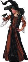 Carnavalskleding Heksen Morgana bruin meisje Maat 140