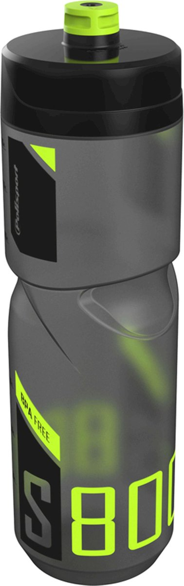 Polisport bidon S800ml transparant zwart/zwart/lime - Polisport