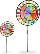 relaxdays 2 x windmolen regenboog - tuindecoratie - tuinsteker windspel - gekleurd