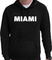 Miami tekst hoodie zwart voor heren - zwarte Miami sweater/trui met capuchon M