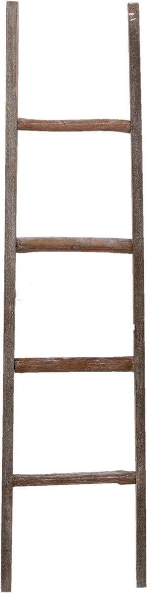 Clayre & Eef Handdoekhouder ladder 50178 39*5*150 cm - Bruin Hout Handdoekladder Decoratie ladder