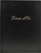 2x Gastenboek Balacron kaft met opschrift Livre d'Or - 100 pagina's - 27x22cm verticaal, Zwart
