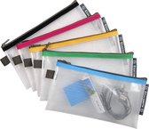 10x Etui met zip-sluiting in soepele plastic (EVA) 23x13 cm, Geassorteerd