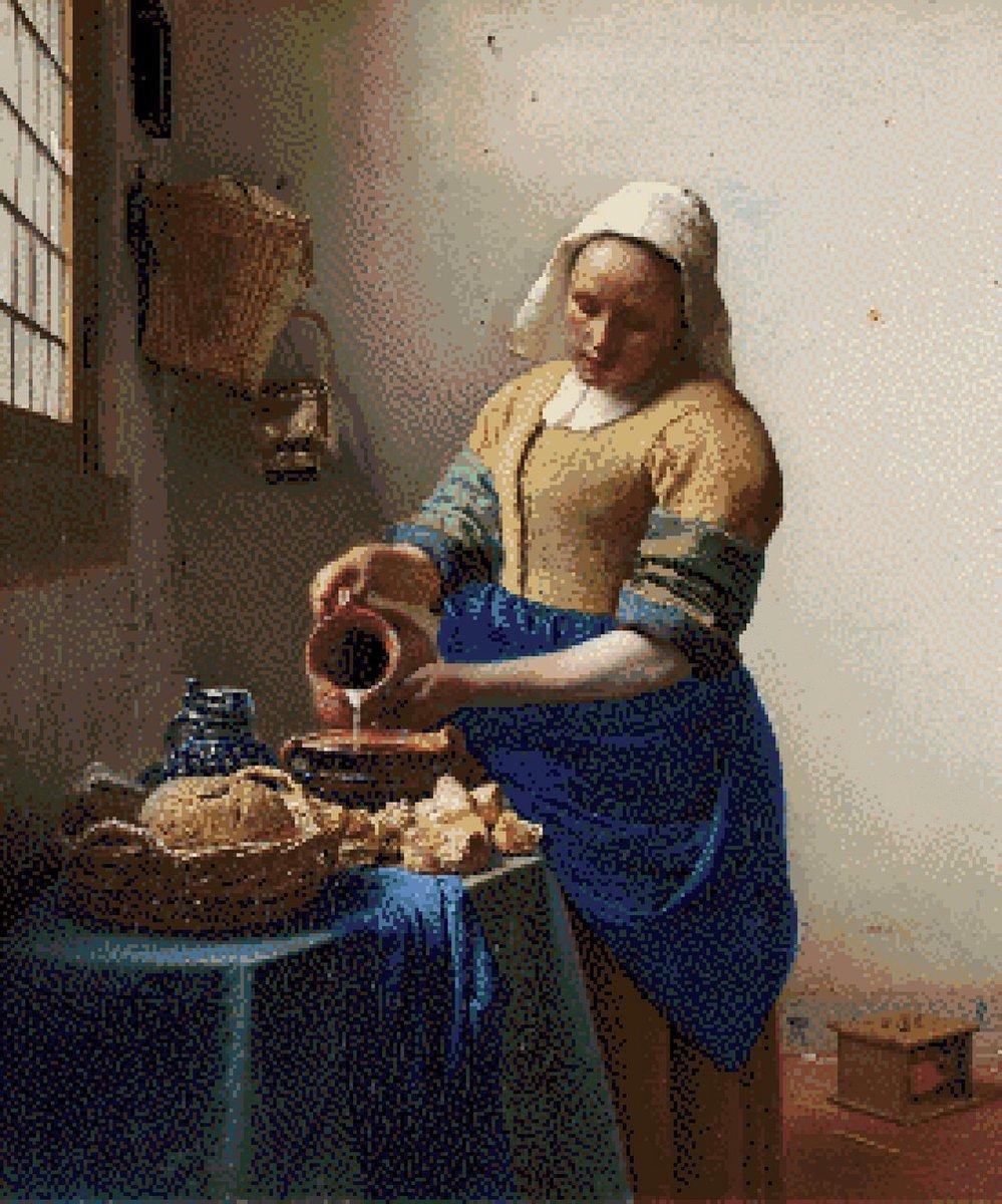 MyHobby Borduurpakket –  Het Melkmeisje van Vermeer 50×60 cm - Aida stof 5,5 kruisjes/cm (14 count)