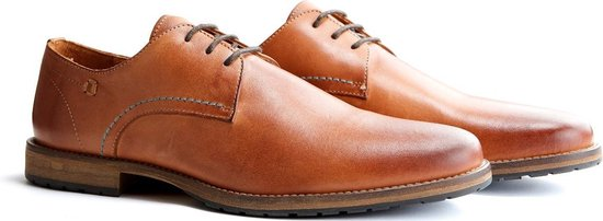 Travelin Manchester Leather - Leren veterschoenen - Cognac - Maat 46