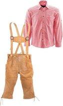 Lederhosen set   Top Kwaliteit   Lederhosen set J (lichtbruine broek + blauw overhemd)-50-S