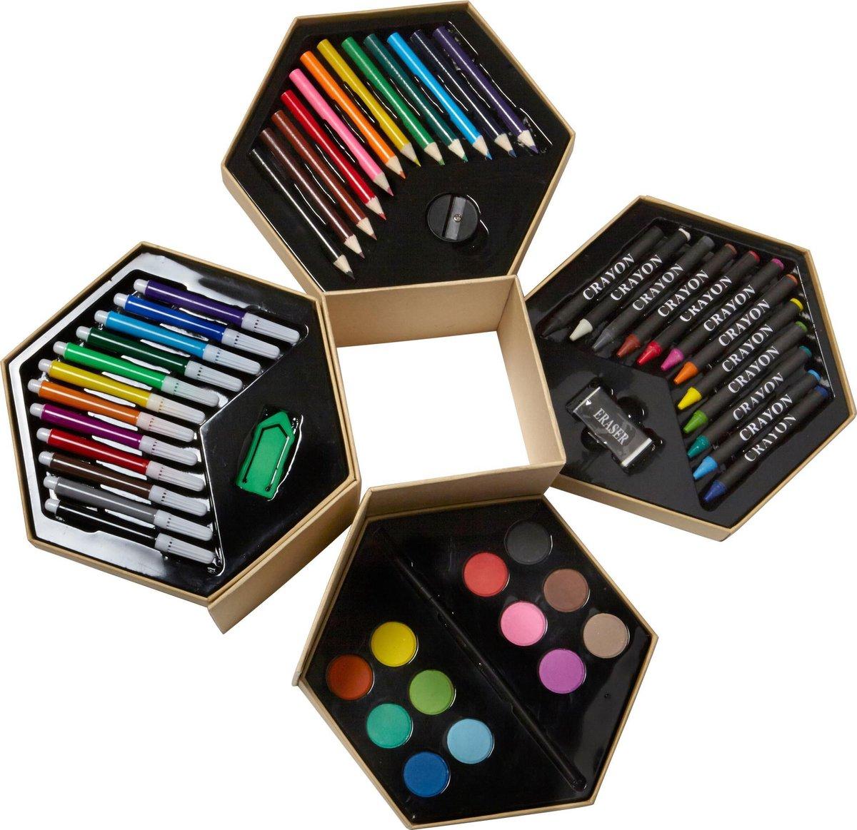 Viltstiften potloden knutsel kleur set met verf wasco puntenslijper gum waterverf en penseeltje compleet pakket