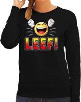 Funny emoticon sweater LEEF zwart voor dames -  Fun / cadeau trui 2XL