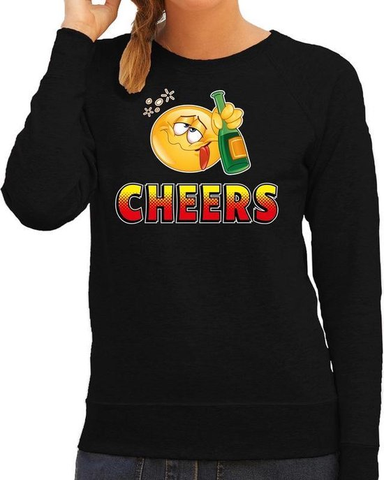 Funny emoticon sweater Cheers zwart voor dames -  Fun / cadeau trui 2XL
