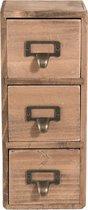 Clayre & Eef ladekast - Mini - Hout - 11x11x27cm - Bruin