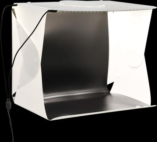 Softbox met LED-lamp inklapbaar 40x34x37 cm kunststof wit