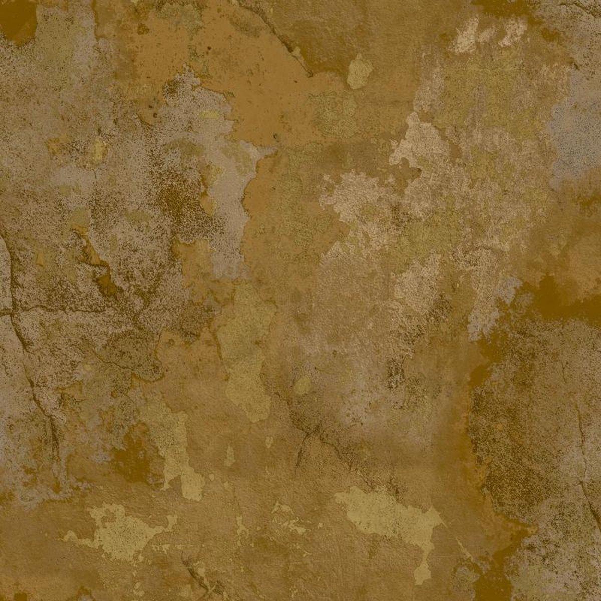 ZERO   Beton stuc look   goud, bruin   vinyl op vlies 0,53x10m