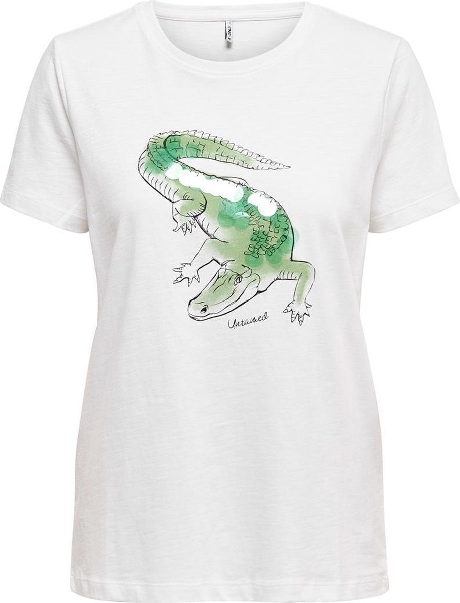 Onlcaty Life Reg S/s Animal Top Box 15199846 Bright White/crocodile