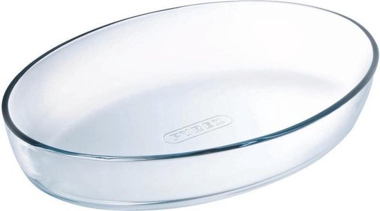 Ovale glazen ovenschaal 1 liter 26 x 18 x 6 cm - Ovenschotel schalen - Bakvorm