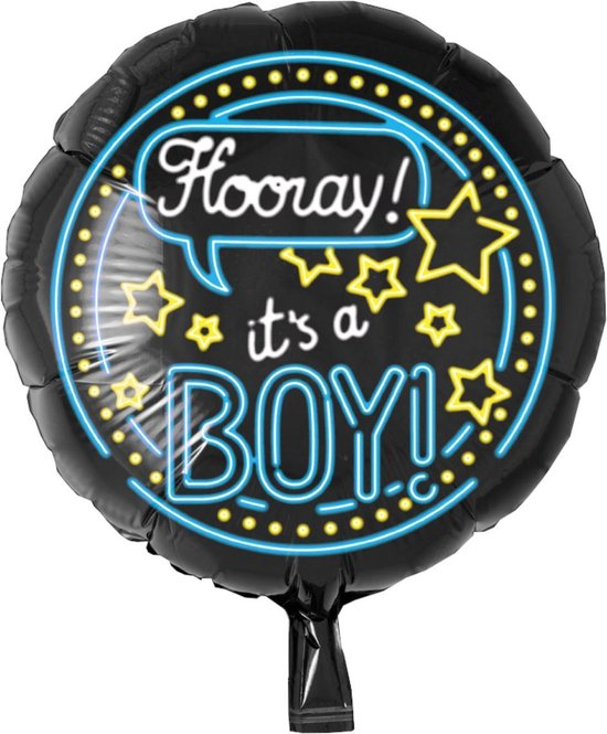 Folieballon - It's a boy - Neon - Zonder vulling