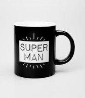 Mok - Zwart wit - Super Man - Gevuld met droplullen - In cadeauverpakking met gekleurd lint