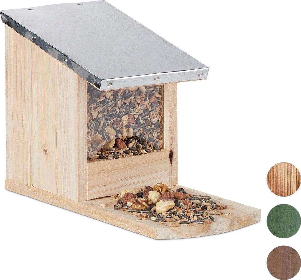 relaxdays eekhoorn voederhuisje - metalen dak - hout - voederhuis - voederkast Naturel