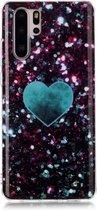 Let op type!! Voor Huawei P30 Pro gekleurd tekening patroon IMD vakmanschap zachte TPU beschermende case (groene liefde)