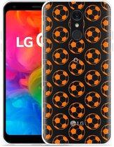 LG Q7 Hoesje Orange Soccer Balls