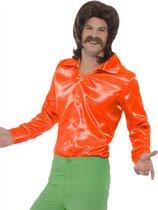 100% NL & Oranje Kostuum | Cool Dancer Discoshirt 70s, Oranje Man | Large | Carnaval kostuum | Verkleedkleding