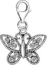 Quiges - 925 Zilver Charm Bedel Hanger Vlinder met Zirkonia - HC325