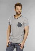 Heren T-shirt met V-hals antraciet maat M