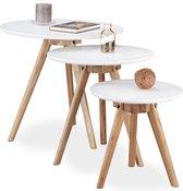 Relaxdays bijzettafeltjes - Walnoot hout - 3  stuks - ø50x45,5 cm