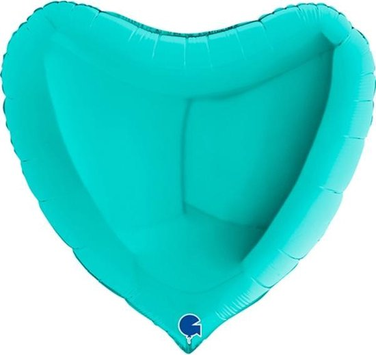 Folie Ballon Hart Tiffany groen, 90cm