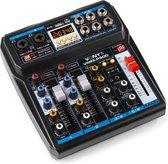 Mengpaneel - Vonyx VMM-P500 mixer met Bluetooth, mp3 speler en digitale sound processor (echo & delay effecten)
