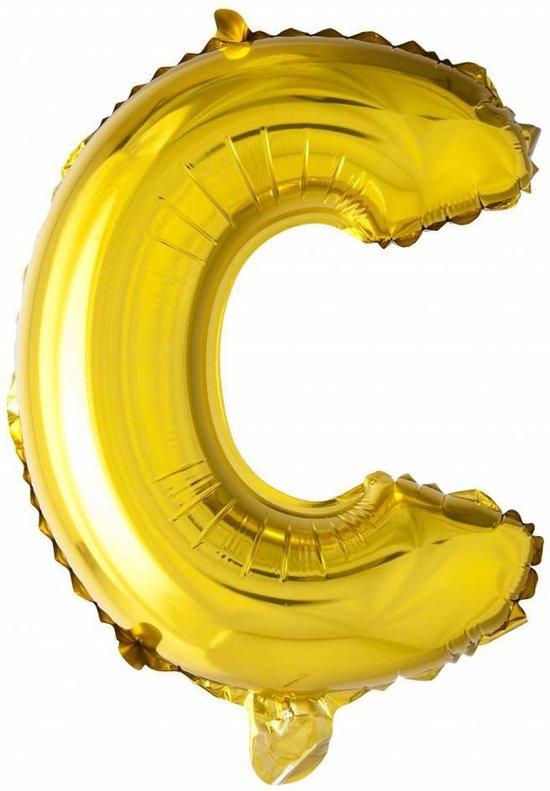 Folie Ballon Letter C Goud 41cm met rietje