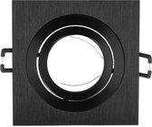 LED Line Inbouwspot - Vierkant - Kantelbaar - Geborsteld Aluminium - GU5.3 Fitting - Zwart