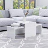 vidaXL Salontafelset 100x48x40 cm spaanplaat hoogglans wit