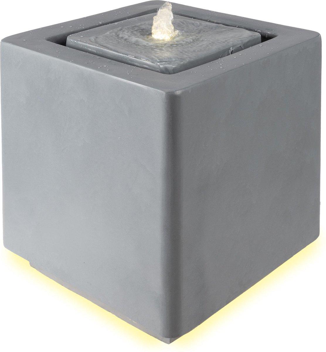 WOMO-DESIGN fontein grijs, met LED verlichting en pomp, 38x39,5x38 cm, kunststof