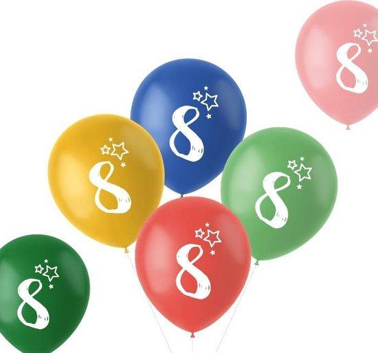 Ballonnen Retro 8 Jaar Meerkleurig 33 cm - 6 stuks