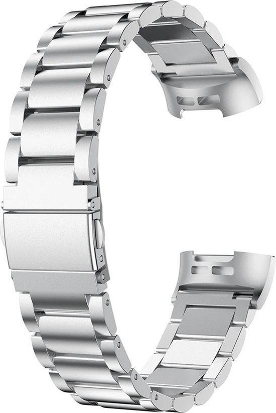 Metaal schakel horloge bandje Zilver geschikt voor Fitbit Charge 3 / Charge 4 - SmartphoneClip