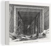 Een illustratie van het interieur van de tempel van Aboe Simbel canvas 160x120 cm - Foto print op Canvas schilderij (Wanddecoratie woonkamer / slaapkamer) XXL / Groot formaat!