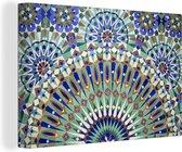 Een Marokkaanse mozaïekmuur met verschillende vormen Canvas 140x90 cm - Foto print op Canvas schilderij (Wanddecoratie woonkamer / slaapkamer)