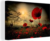 Papavers in de avond canvas 30x20 cm - klein - Foto print op Canvas schilderij (Wanddecoratie woonkamer / slaapkamer) / Bloemen Canvas Schilderijen