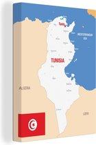 Een illustratie van de kaart van Tunesië in Afrika 60x80 cm - Foto print op Canvas schilderij (Wanddecoratie woonkamer / slaapkamer)
